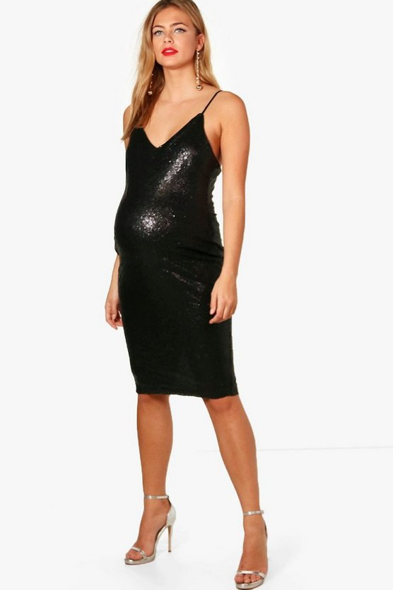 Maternity V Neck Sequin Midi Dress