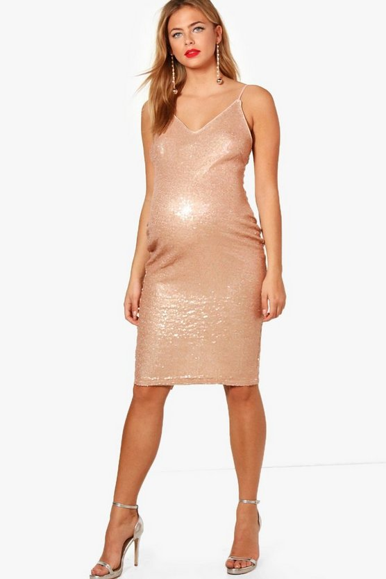 Maternity Casey V Neck Sequin Midi Dress