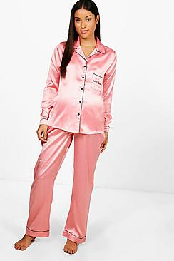 Vintage Style Maternity Clothes Maternity Bethany Baby Mama Embroidered PJ Set $38.00 AT vintagedancer.com
