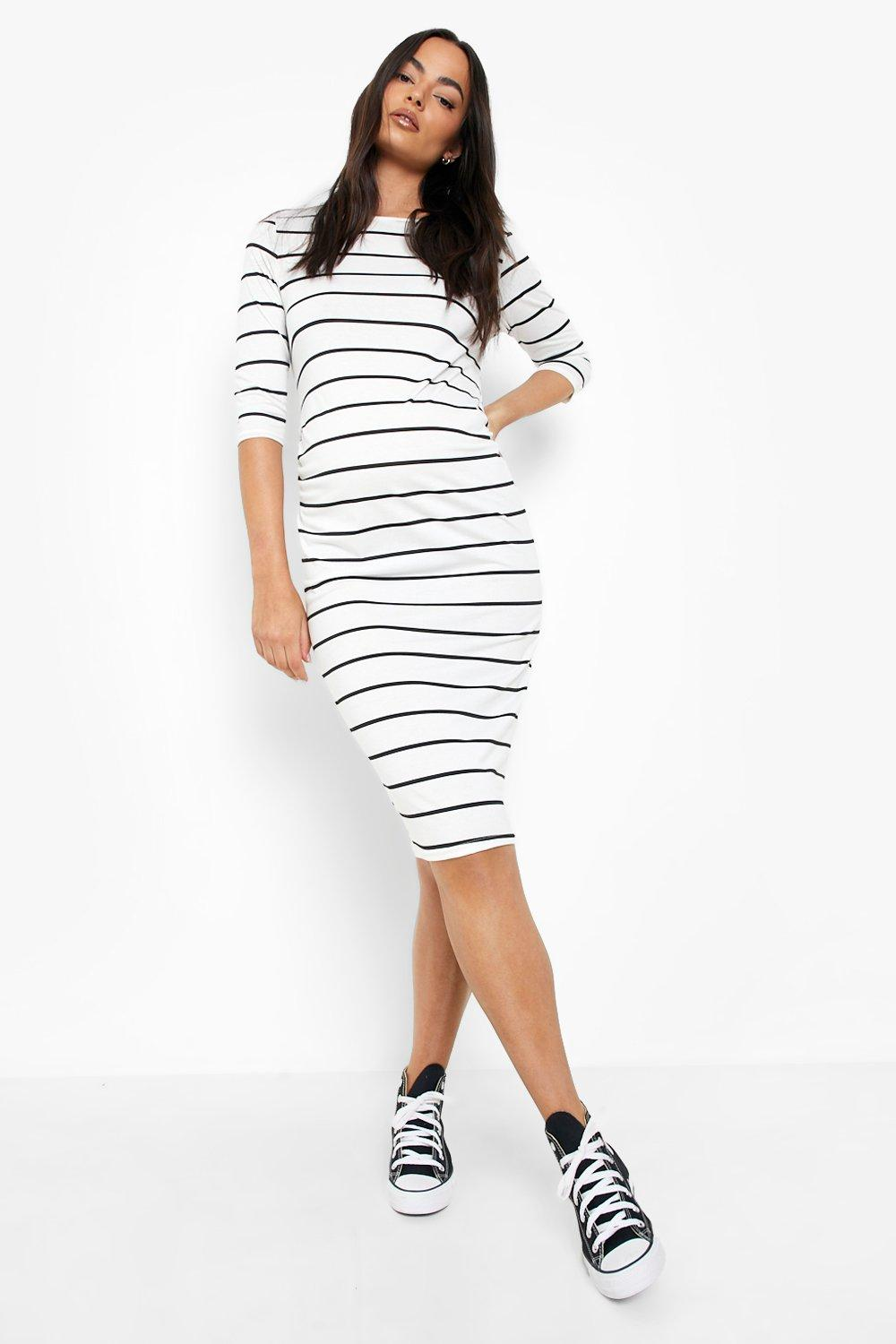 595df0d67d38c Womens Black Maternity Striped 3/4 Sleeved Midi Dress. Hover to zoom