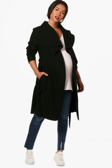 Womens Black Maternity  Tie Waist Shawl Collar Coat