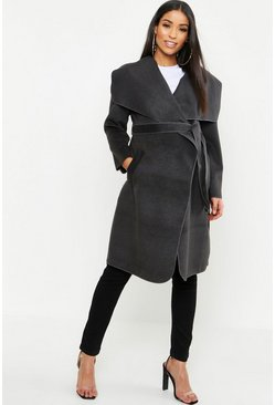 Charcoal Maternity  Tie Waist Shawl Collar Coat
