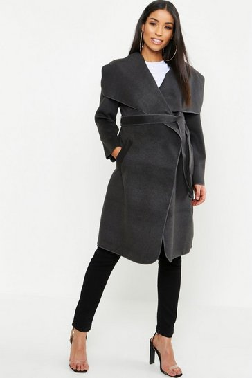 Womens Charcoal Maternity  Tie Waist Shawl Collar Coat