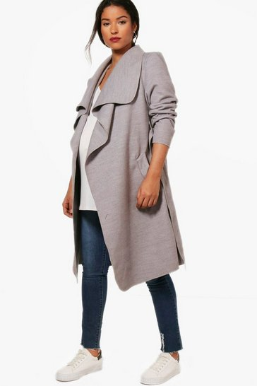 Grey Maternity  Tie Waist Shawl Collar Coat