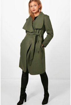Womens Khaki Maternity  Tie Waist Shawl Collar Coat
