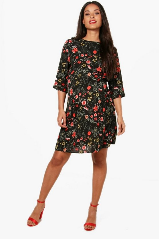 Maternity Sarah Printed 3/4 Sleeve Shift Dress