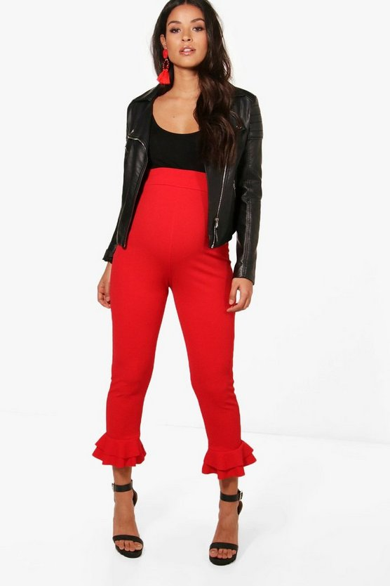 Maternity Molly Double Ruffle Crepe Trousers