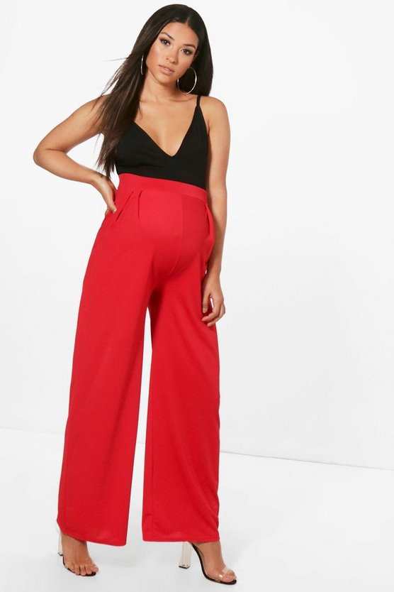 Maternity Amy Wide Leg Pleat Front Trouser