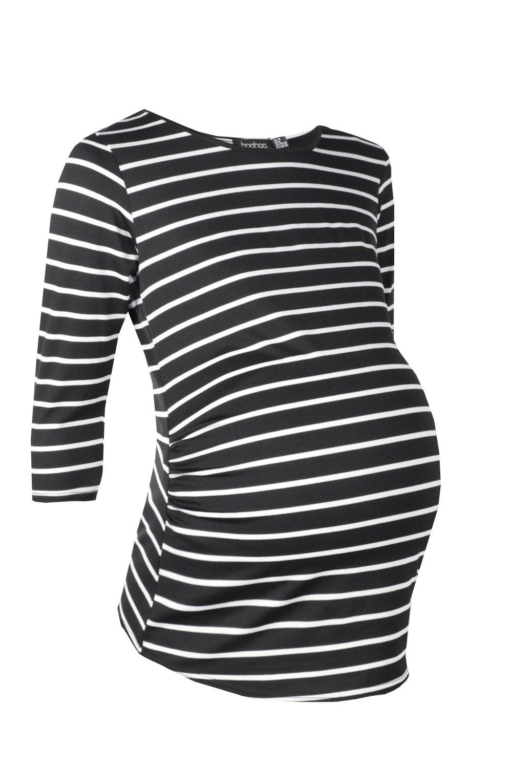 Sleeve Tee Stripe black Long Maternity HRw6YzqAn