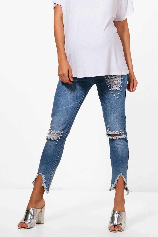 buy good new arrivals half off melissa jean skinny de grossesse déchiré aux genoux à perles | Boohoo