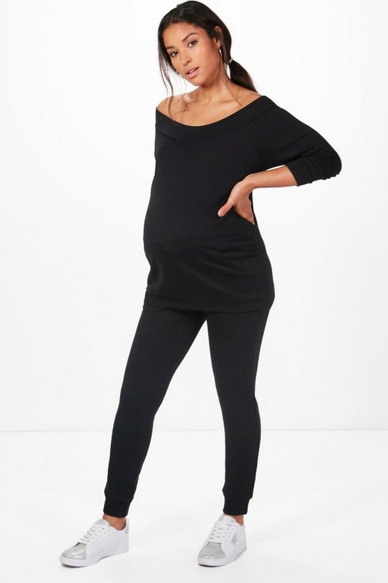 Black Maternity Bardot Top & Lounge Set
