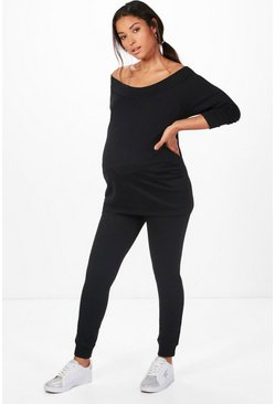 Womens Black Maternity Bardot Top & Lounge Set