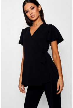 Black Maternity  Crepe Wrap Top