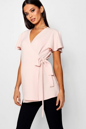 Womens Blush Maternity  Crepe Wrap Top