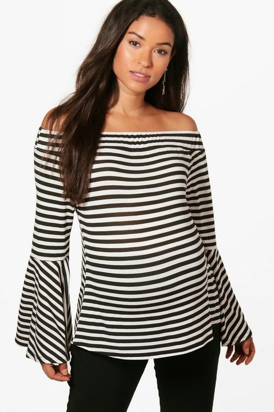 Maternity Lottie Off Shoulder Stripe Top