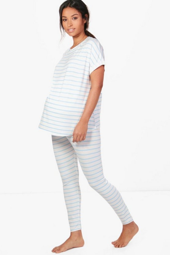 Maternity Jane Stripe Tee & Legging PJ Set