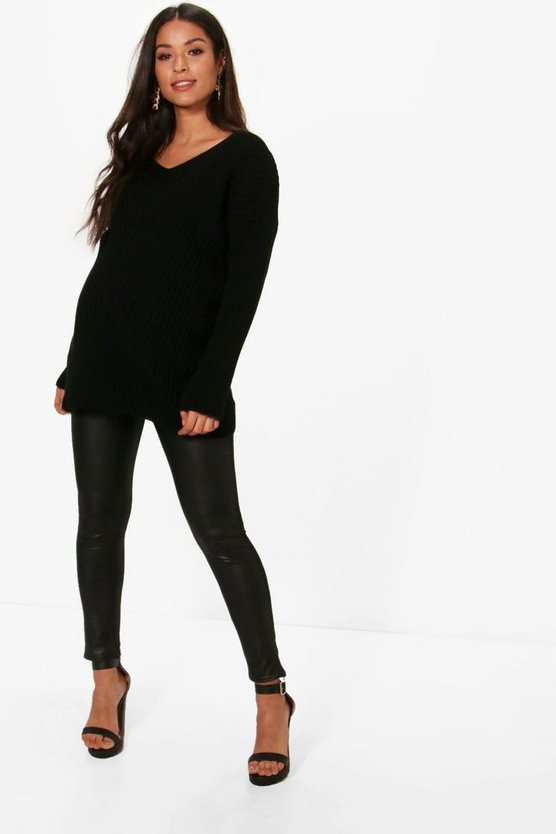 Maternity Slouchy V Neck Jumper, Black, Donna