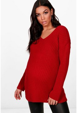 Womens Red Maternity Slouchy V Neck Jumper