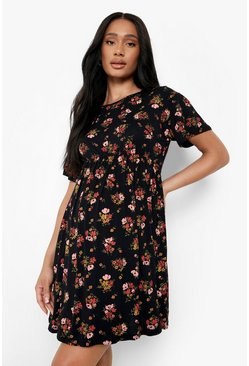 Womens Black Maternity  Floral Smock Dress