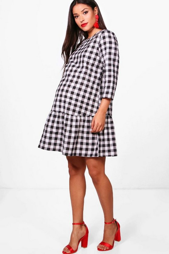 Maternity Gingham Drop Hem Dress