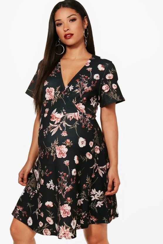 Maternity Floral Wrap Mini Dress