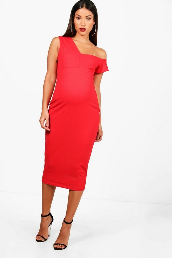 Maternity Structured One Shoulder Midi Dress