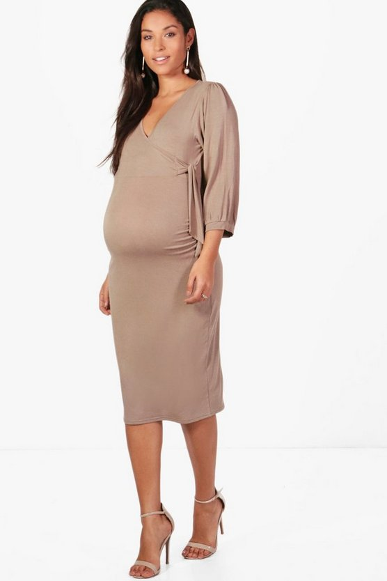 Maternity Wrap Front Side Tie Dress