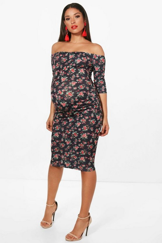 Maternity Naimh Floral Printed Bardot Dress
