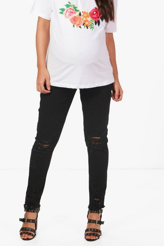 Womens Black Maternity Raw Edge Ripped Skinny Jean