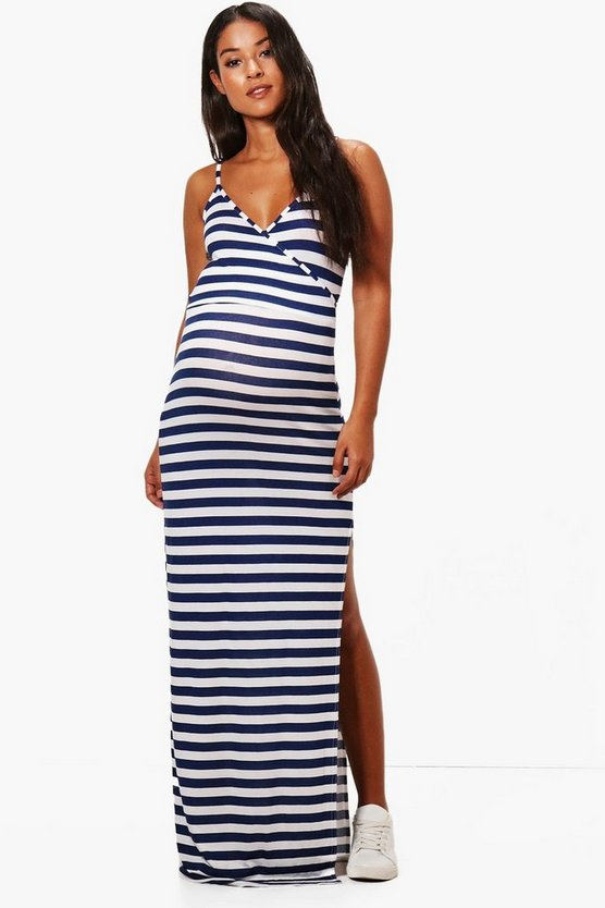 Navy Maternity  Stripe Wrap Front Maxi Dress