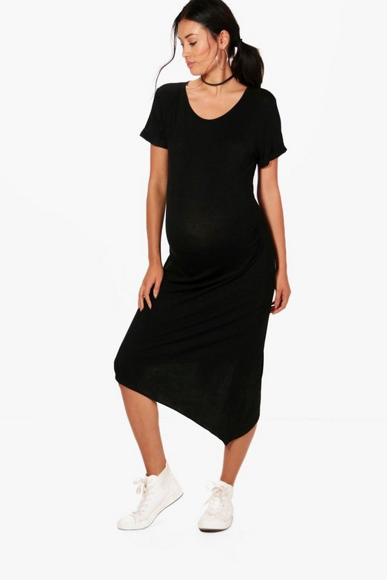 Womens Black Maternity Zoe Asymmetric Short Sleeve Midi Dress