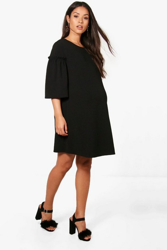 Maternity Rachel Ruffle Sleeve Crepe Shift Dress