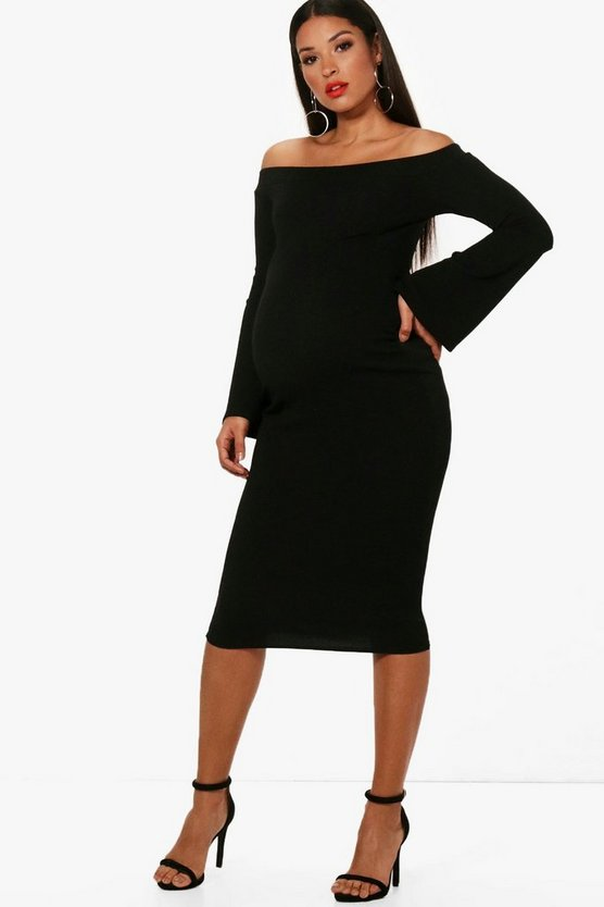 Womens Maternity Laura Off The Shoulder Textured Midi Dress