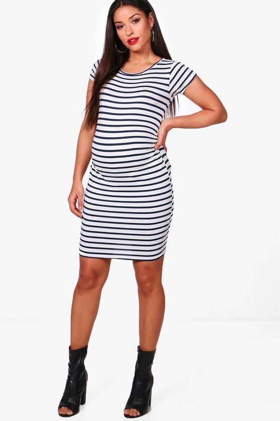 Maternity Sara Cap Sleeve Stripe Bodycon Dress