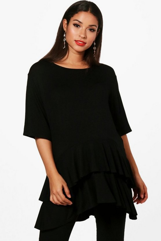 Maternity Darcy Ruffle Layered Oversized T Shirt