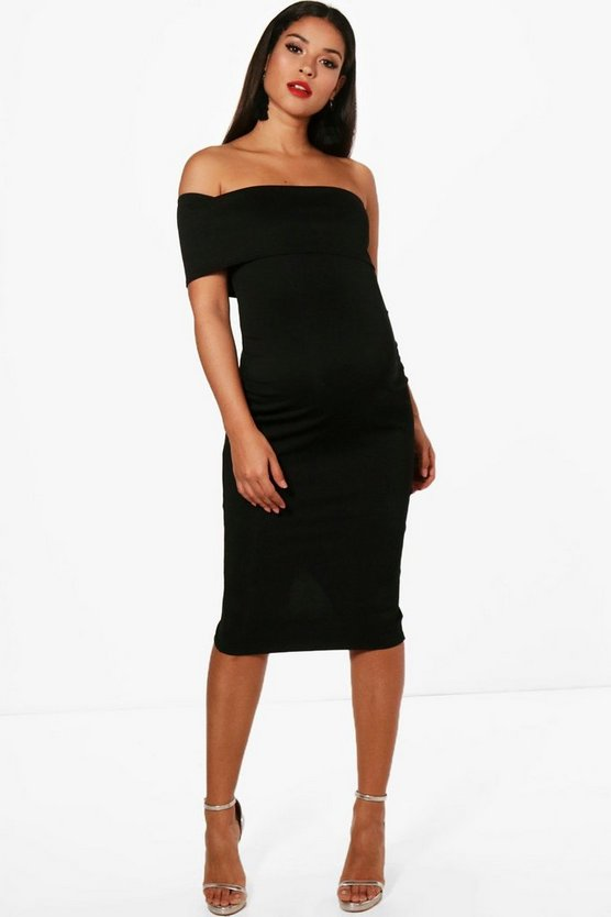 Womens Black Maternity  Off The Shoulder Midi Dress