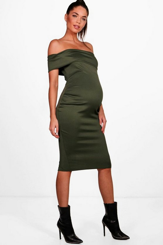 Maternity Tilly Off The Shoulder Midi Dress