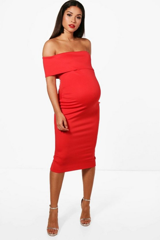 Red Maternity  Off The Shoulder Midi Dress