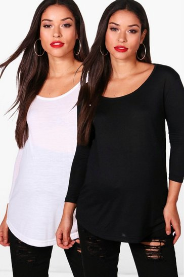 Womens Multi Maternity 2 Pack 3/4 Sleeve Jersey Top