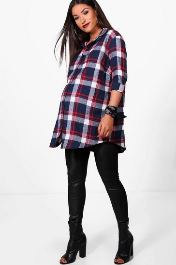 Womens Blue Maternity Check Shirt
