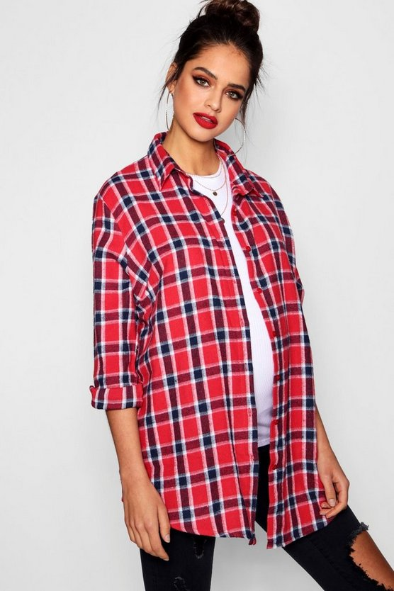 Womens Red Maternity Check Shirt