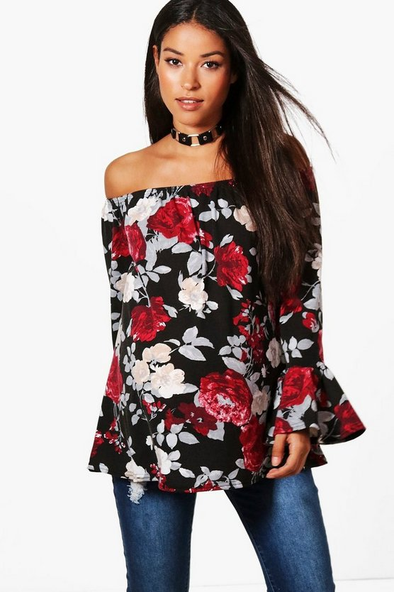 Maternity Darcey Off The Shoulder Floral Top
