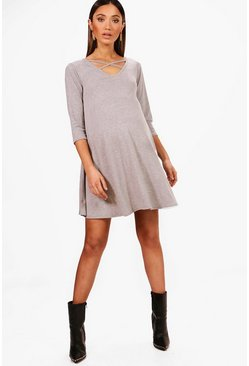 Womens Grey Maternity Cross Strap Swing Dress