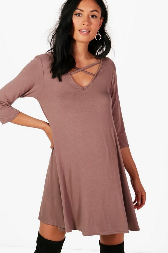 Womens Mink Maternity Cross Strap Swing Dress