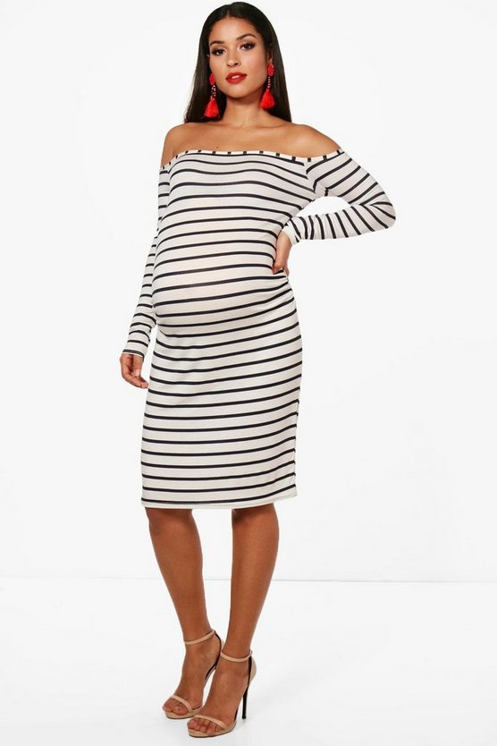 Maternity Off The Shoulder Stripe Bodycon Dress