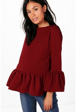 Womens Berry Maternity  Crepe Ruffle Hem Top
