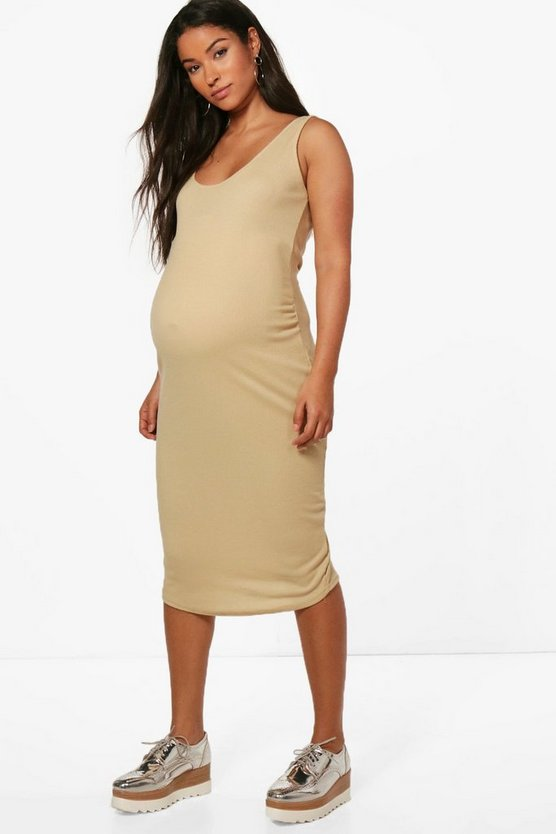 Maternity Sleeveless Ribbed Midi Dress