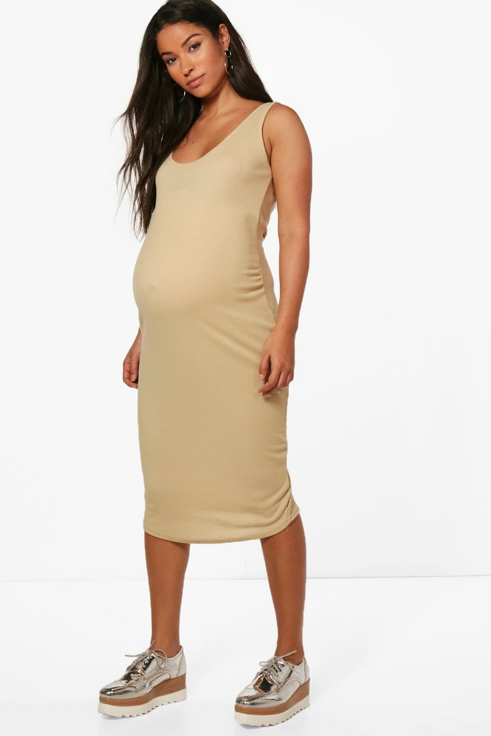 a638571b35a91 Maternity Sleeveless Ribbed Midi Dress | Boohoo