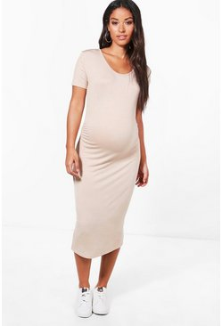 Stone Maternity  Short Sleeve Midi Dress