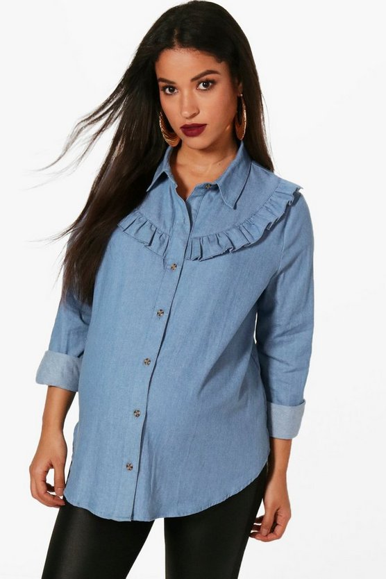 Maternity Ruffle Detail Denim Shirt
